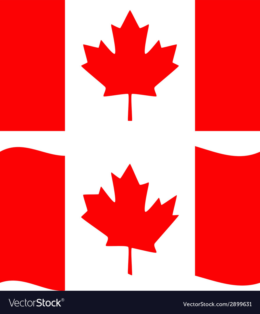 Flat and waving canada flag vector | Price: 1 Credit (USD $1)