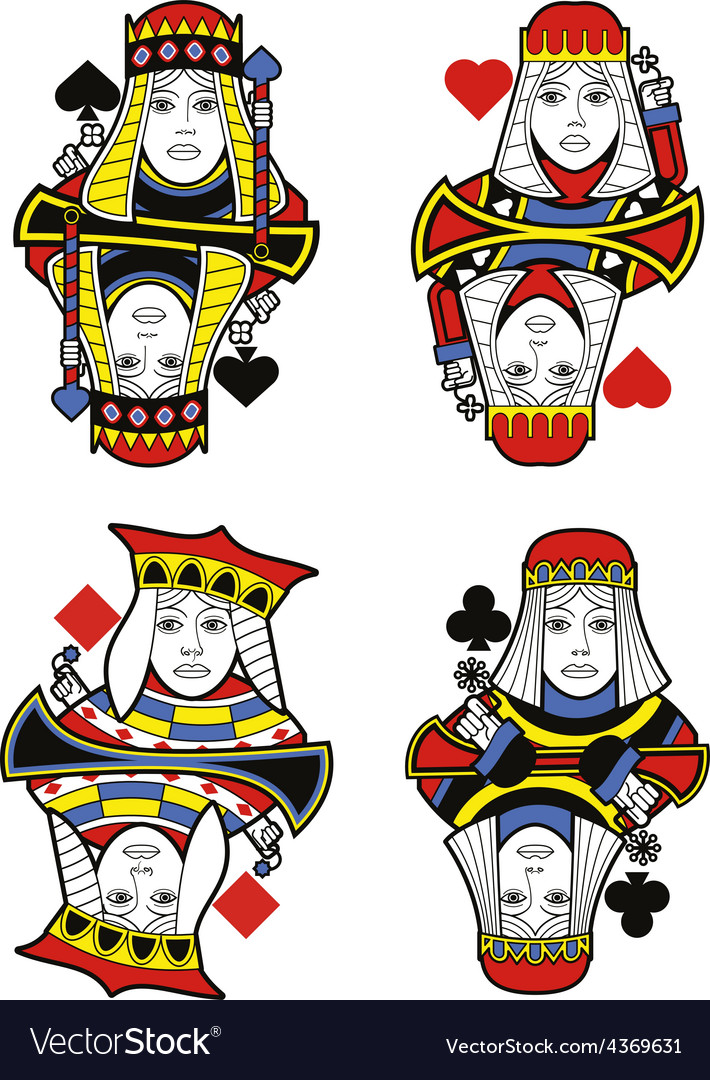 Four queens no cards vector | Price: 1 Credit (USD $1)