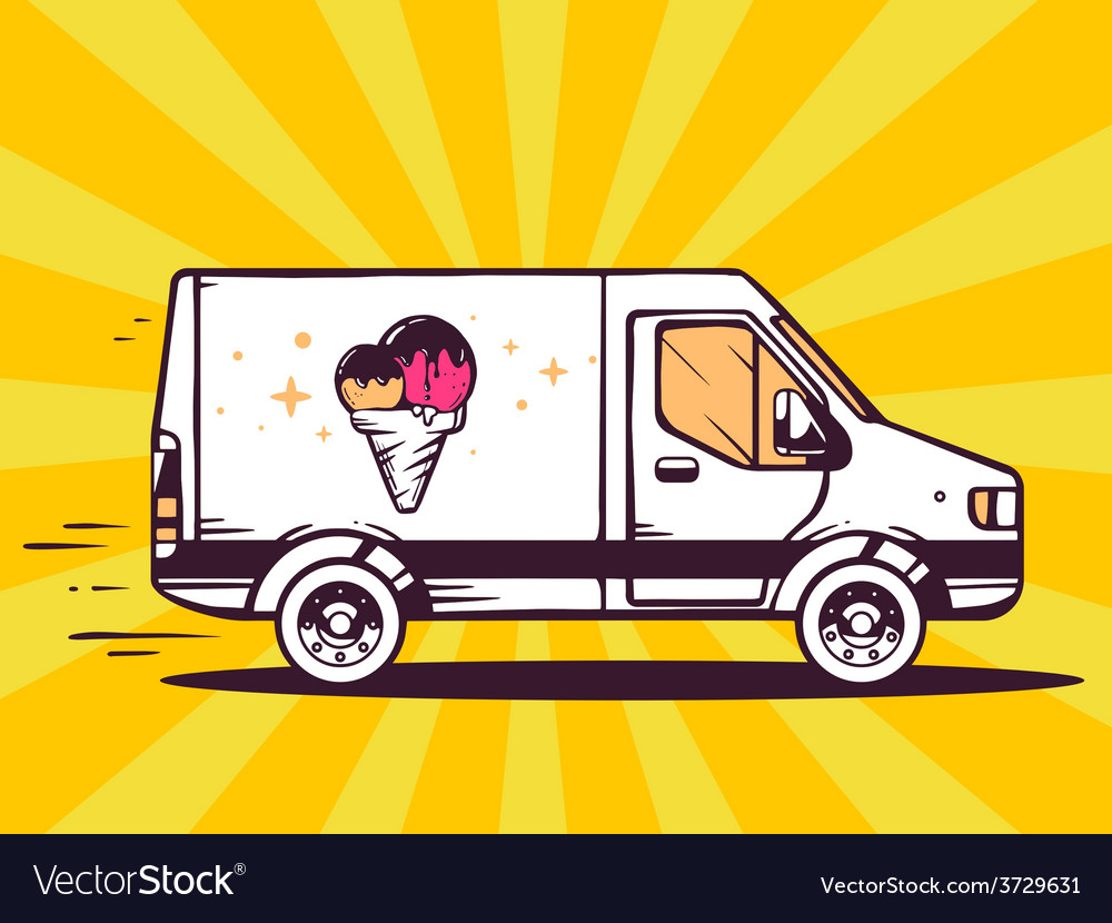 Van free and fast delivering ice cream to vector | Price: 1 Credit (USD $1)
