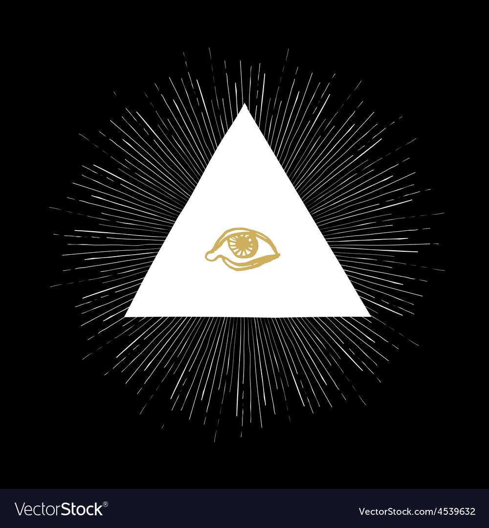 All seeing eye black vector | Price: 1 Credit (USD $1)