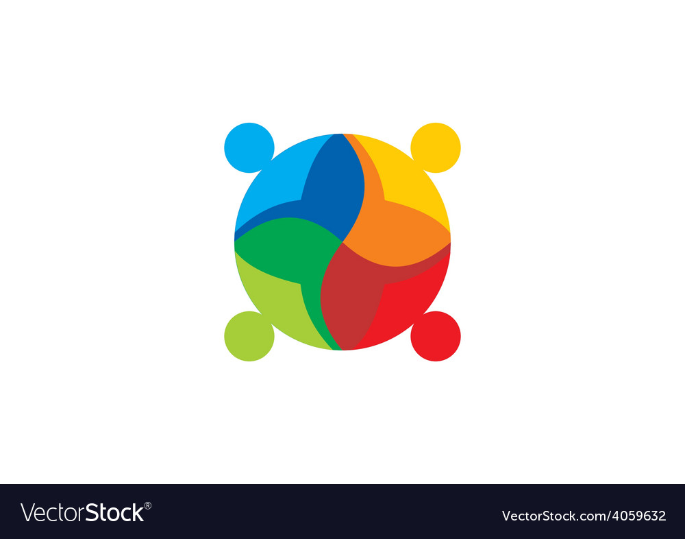 Diversity people teamwork color logo vector | Price: 1 Credit (USD $1)