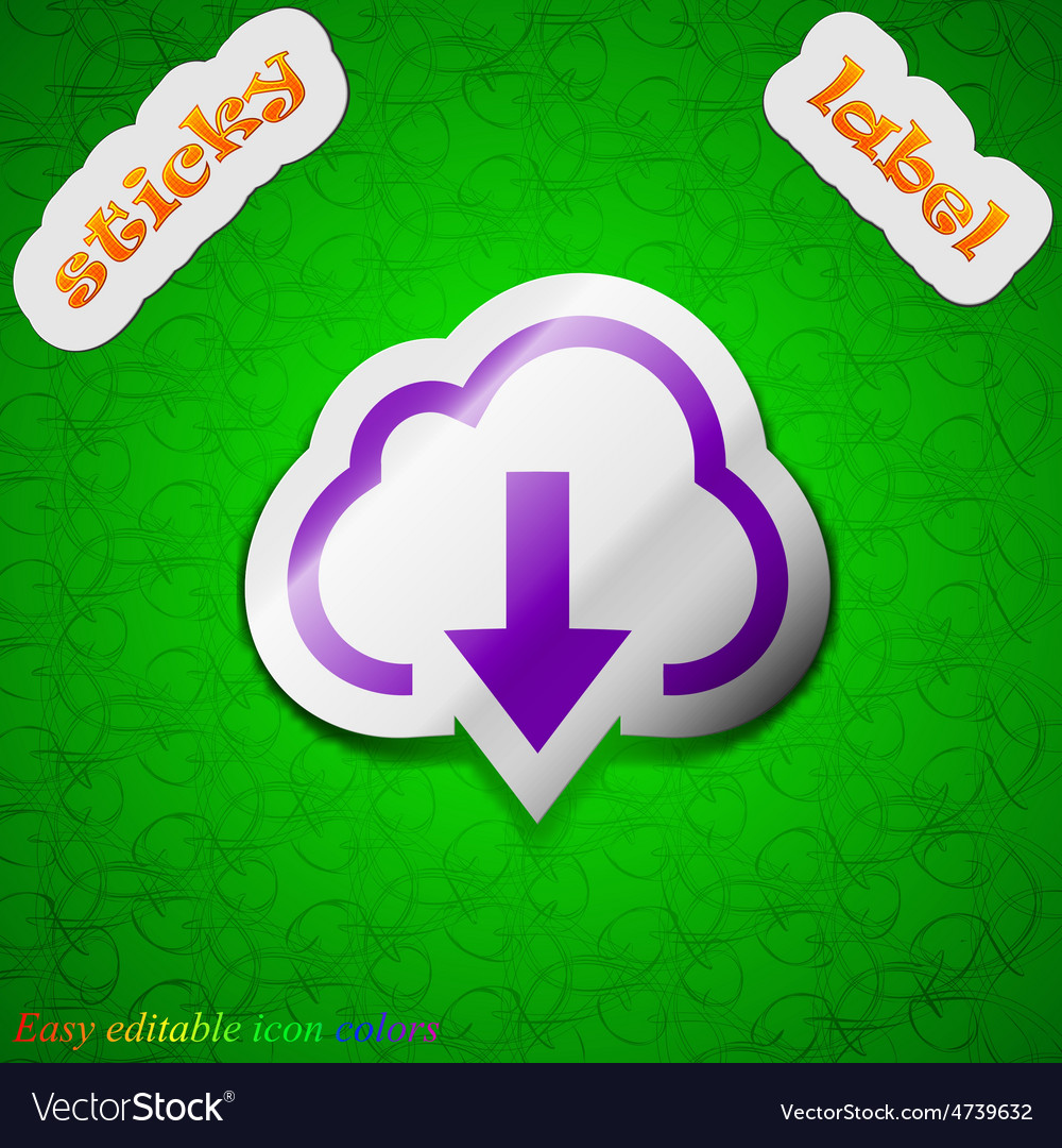 Download from cloud icon sign symbol chic colored vector | Price: 1 Credit (USD $1)