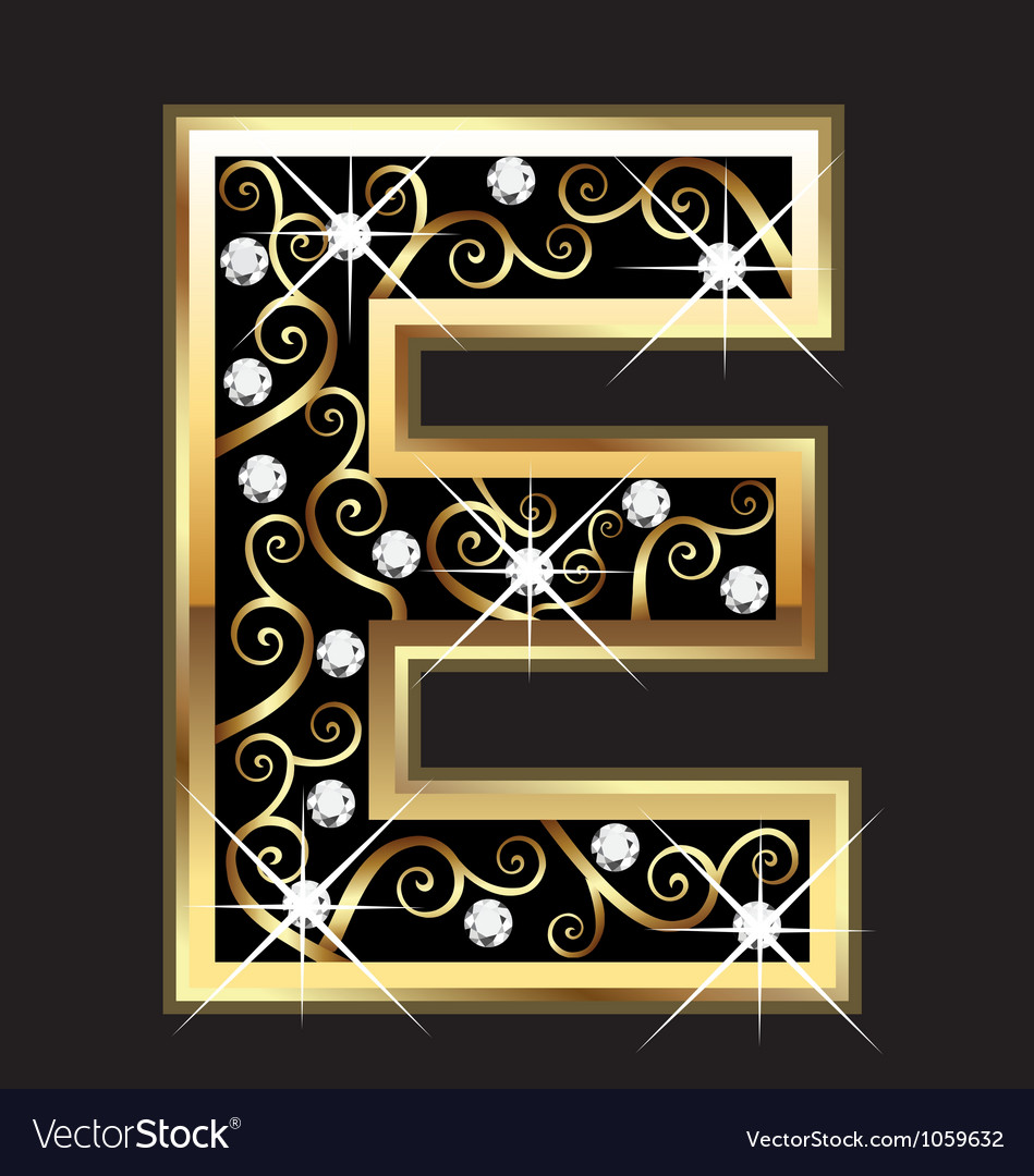 E gold letter with swirly ornaments vector | Price: 1 Credit (USD $1)
