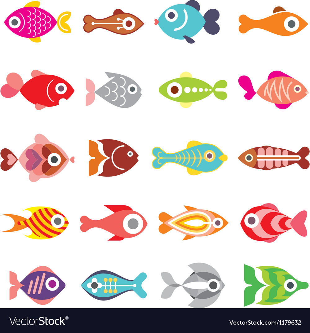 Fish icon set vector | Price: 3 Credit (USD $3)