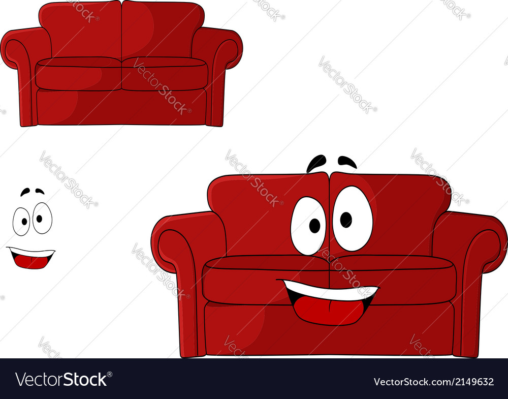 Fun cartoon upholstered red couch vector | Price: 1 Credit (USD $1)