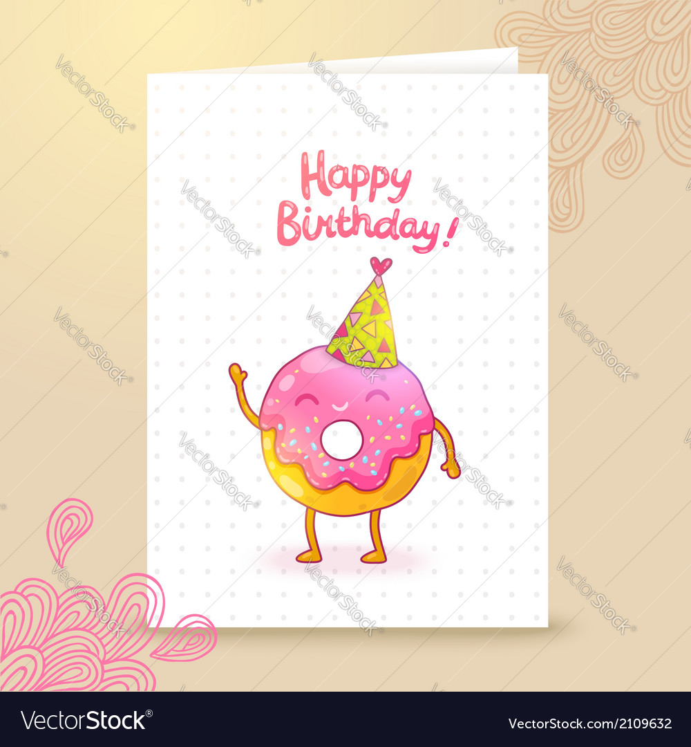 Happy birthday card background with cute donut vector   Price: 1 Credit (USD $1)