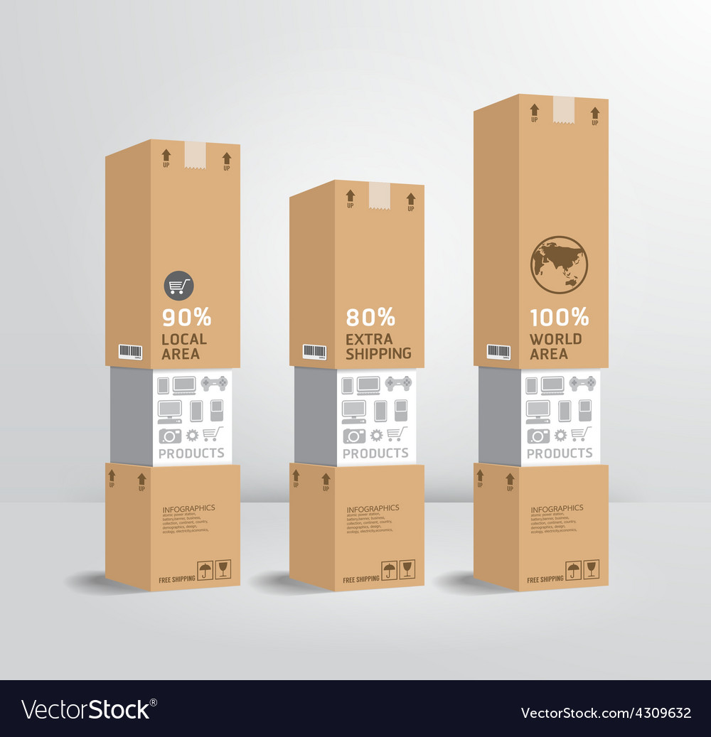 Infographic template product shipping paper box vector | Price: 1 Credit (USD $1)