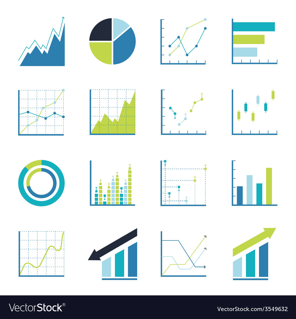 Set statistics icon vector