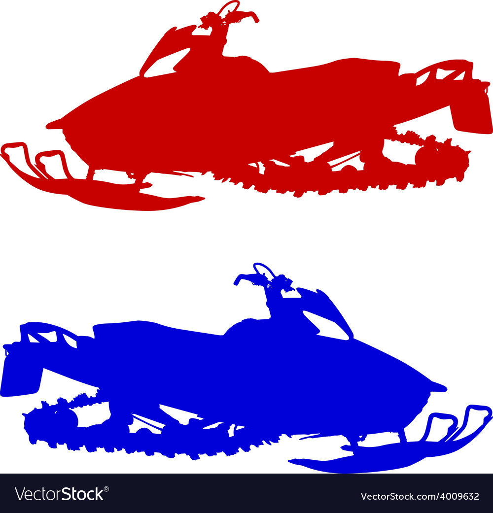 Silhouette snowmobile on white background vector | Price: 1 Credit (USD $1)
