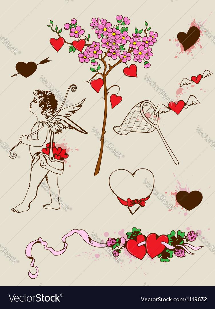 Valentines design elements vector | Price: 1 Credit (USD $1)