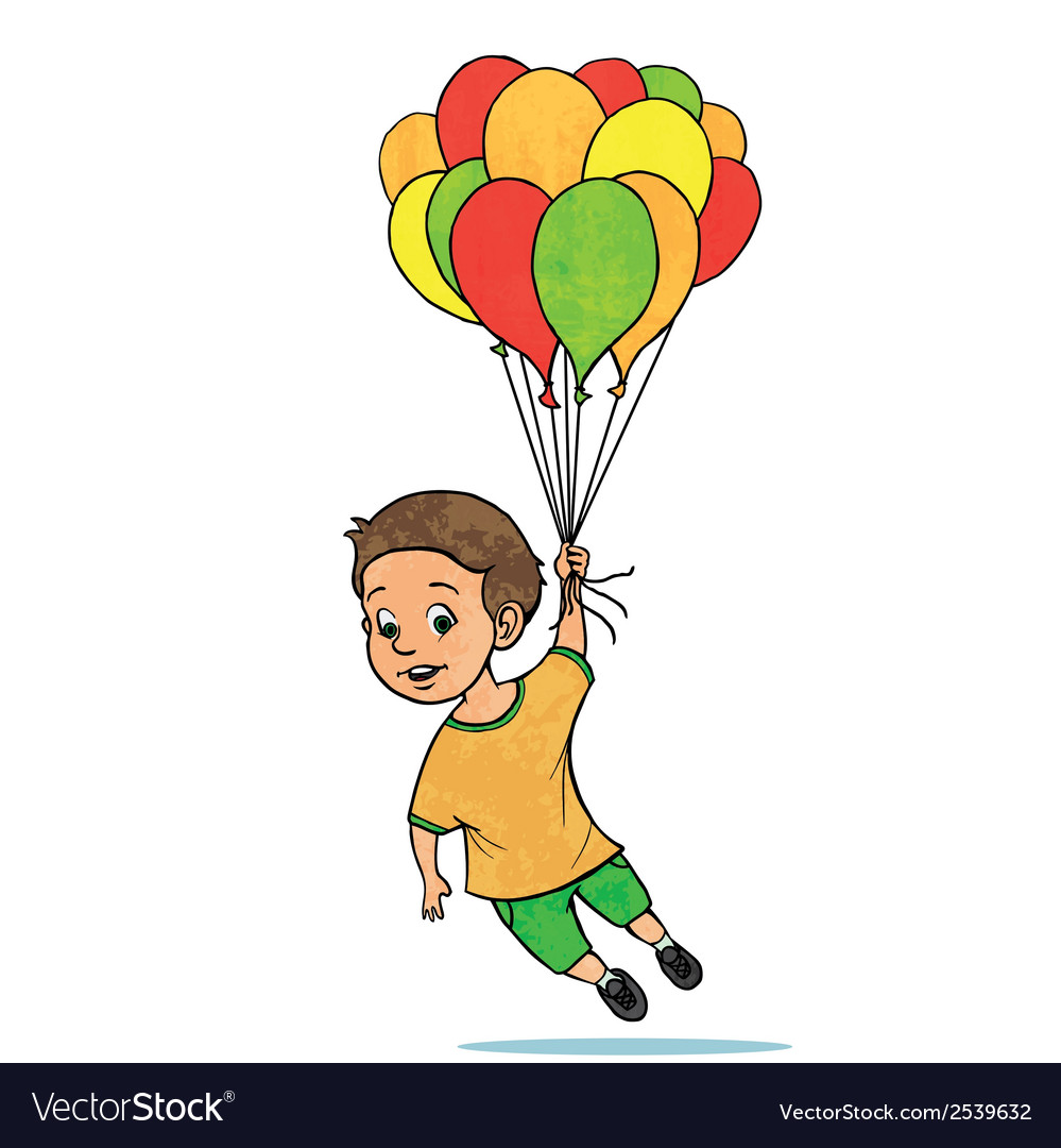Young boy flying with balloons cartoon vector | Price: 1 Credit (USD $1)