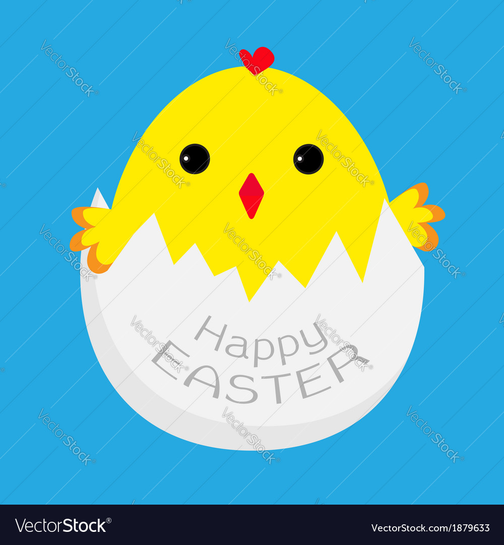 Cute easter chicken and egg shell vector | Price: 1 Credit (USD $1)