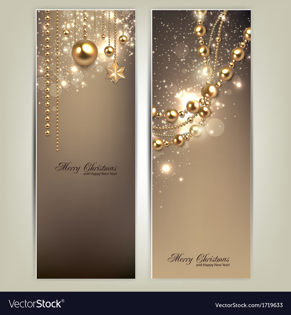Elegant christmas banners with golden baubles and vector | Price: 1 Credit (USD $1)