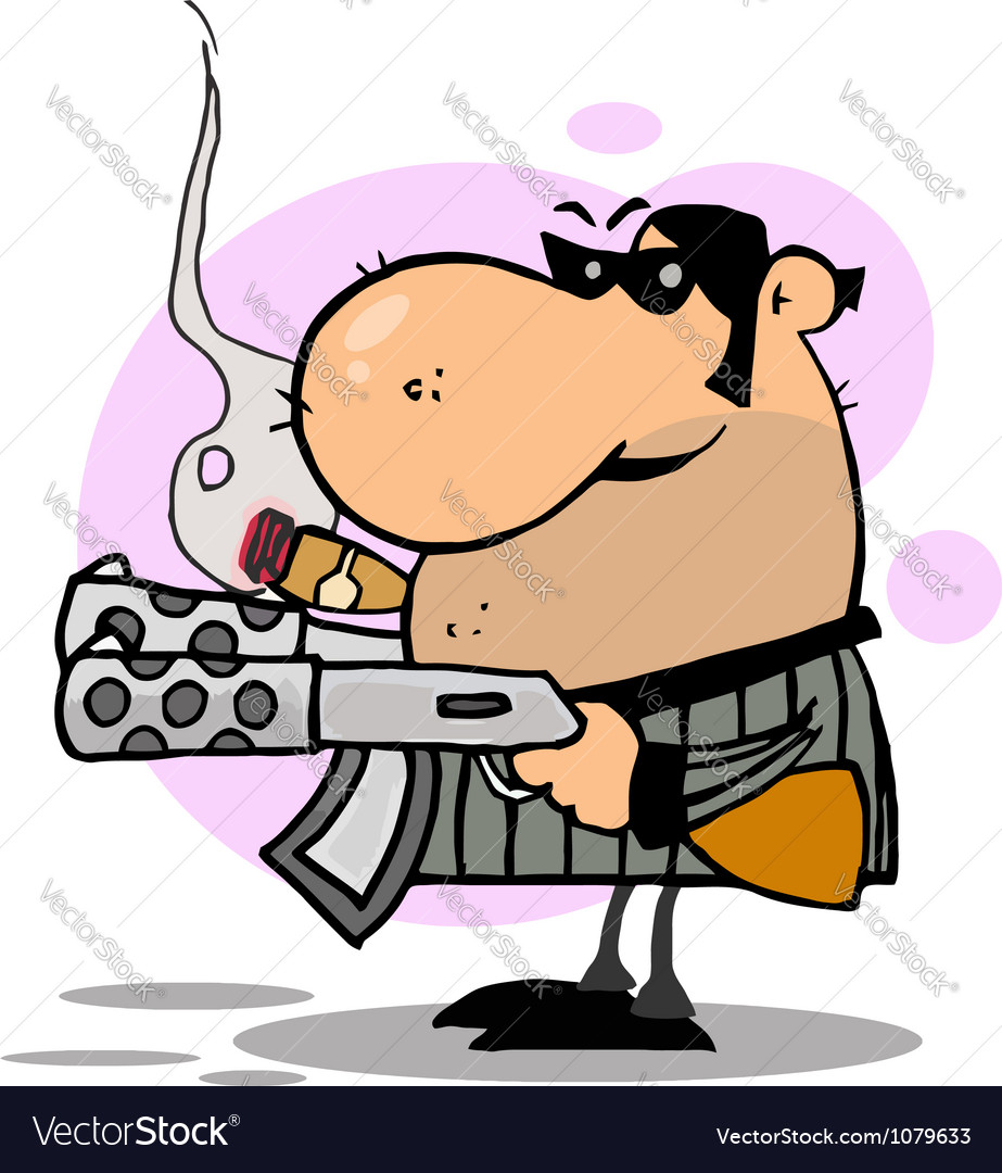 Gangster man holding two machine guns and smoking vector   Price: 1 Credit (USD $1)