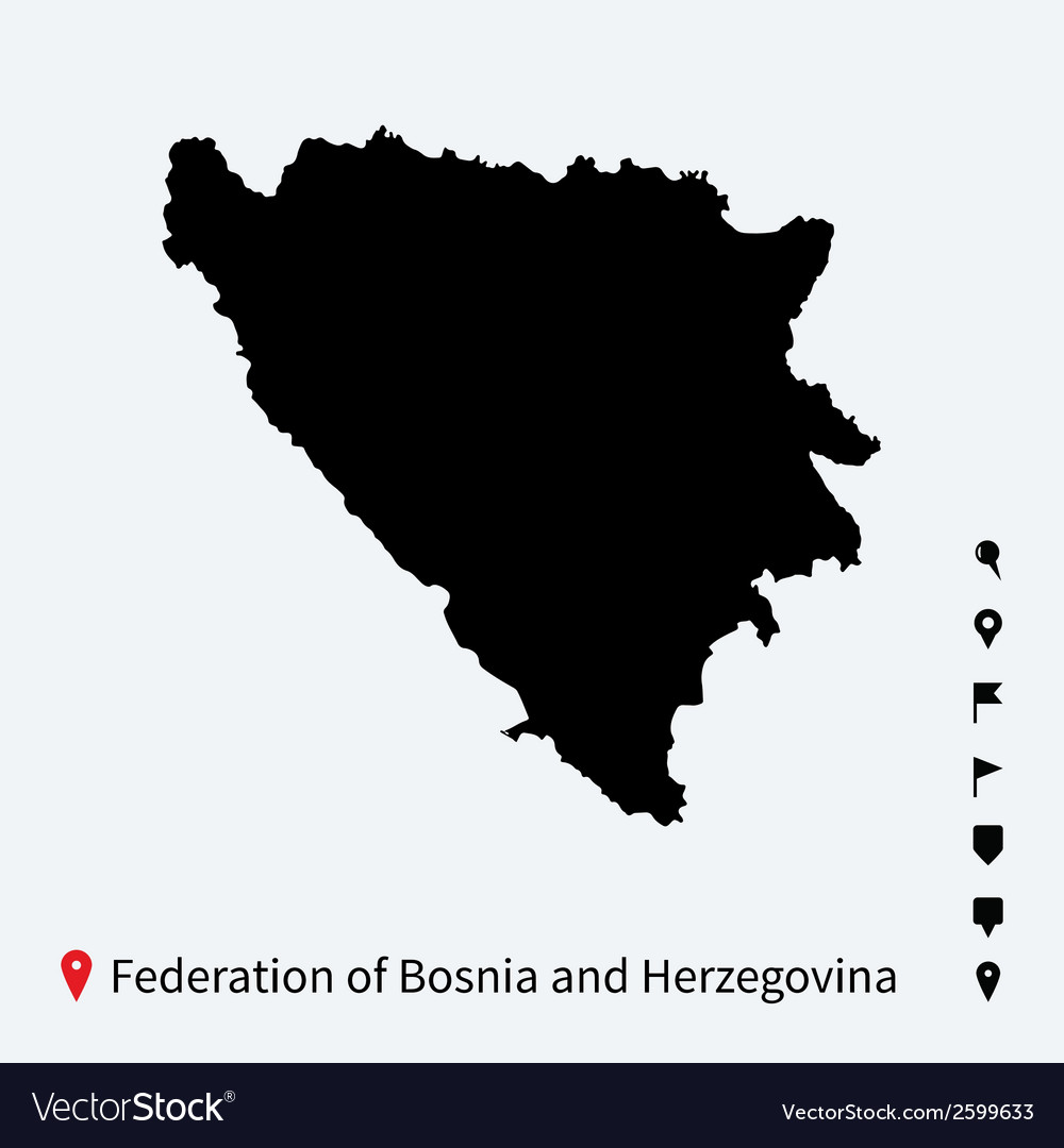 High detailed map of federation of bosnia and vector | Price: 1 Credit (USD $1)