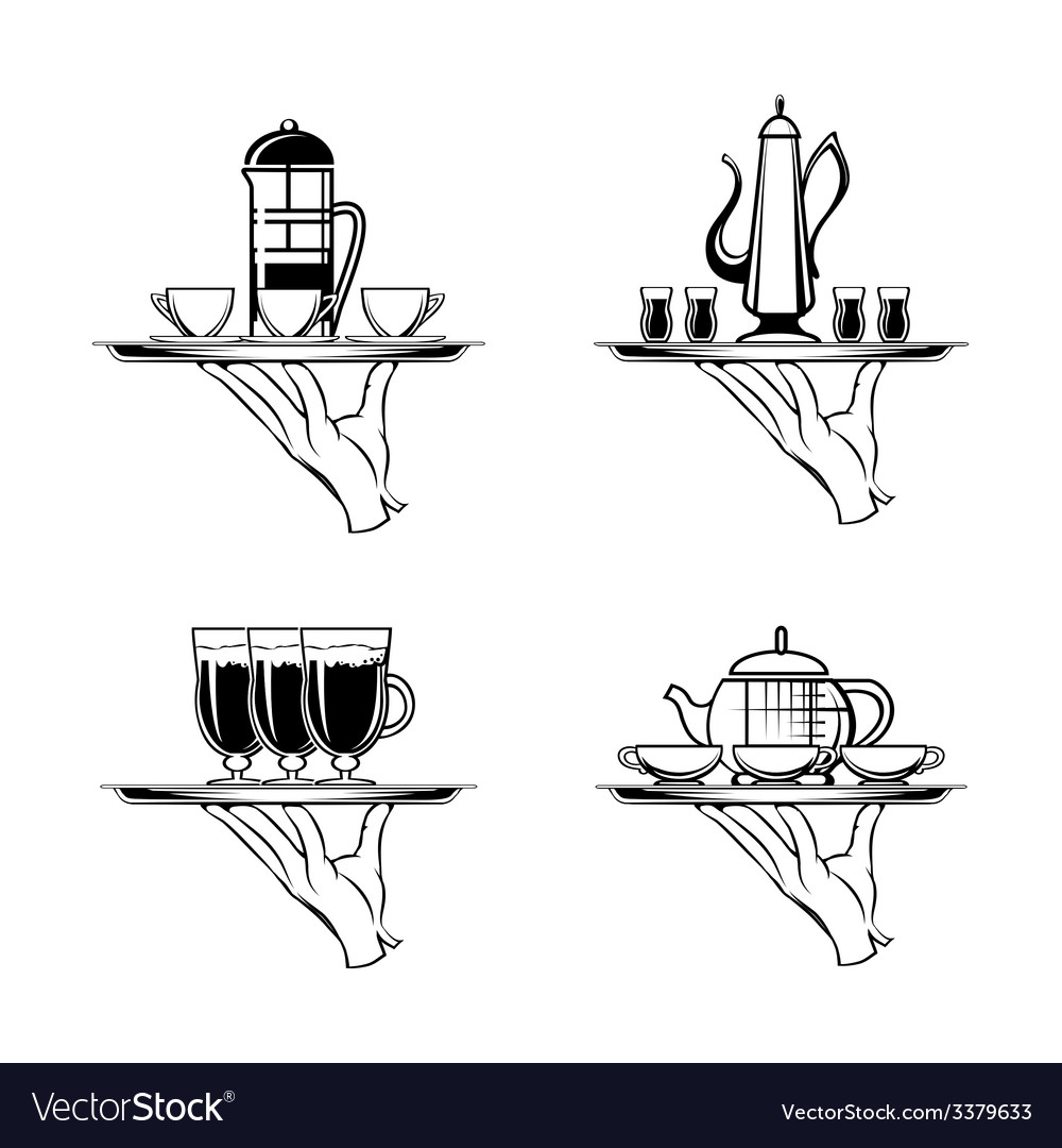 Holding tray with coffee or tea and cups vector | Price: 1 Credit (USD $1)