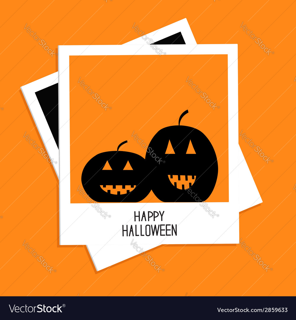 Instant photo with two pumpkins happy halloween vector | Price: 1 Credit (USD $1)