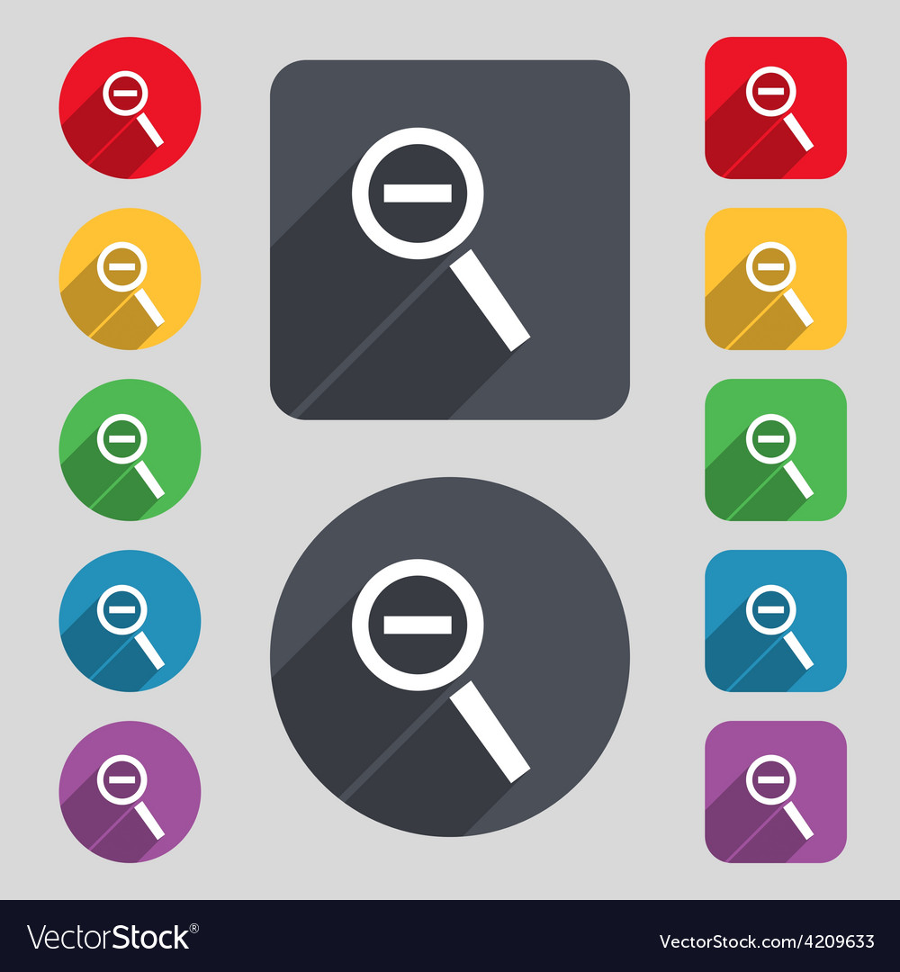 Magnifier glass zoom tool icon sign a set of 12 vector   Price: 1 Credit (USD $1)