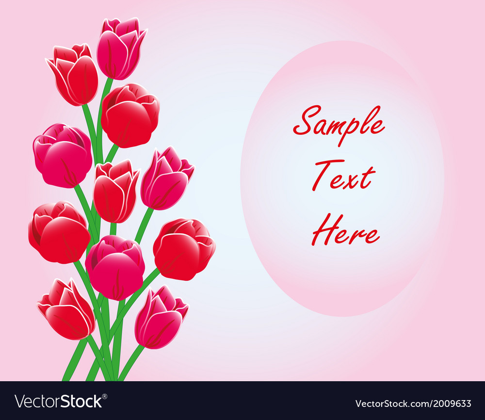 Red tulips frame card with text vector | Price: 1 Credit (USD $1)