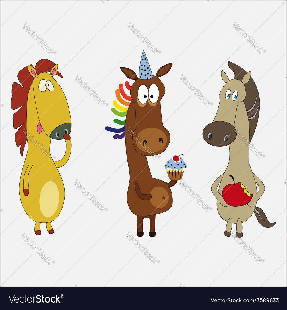 Set of funny horses cartoon character vector | Price: 1 Credit (USD $1)