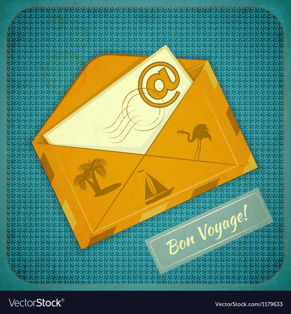 Travel card with yellow envelope vector | Price: 3 Credit (USD $3)