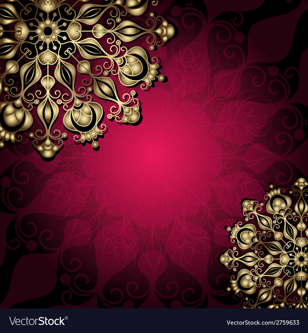 Vintage gold-purple card vector