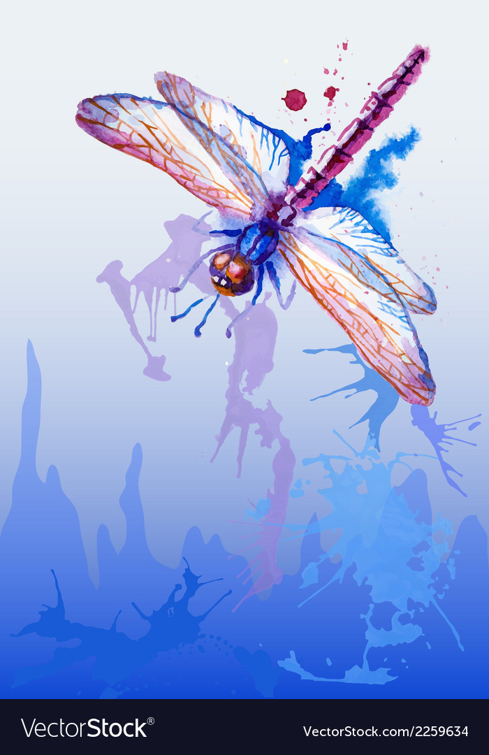 Background with purple watercolor dragonfly vector | Price: 1 Credit (USD $1)