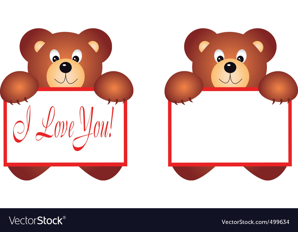 Bear holding placard vector | Price: 1 Credit (USD $1)