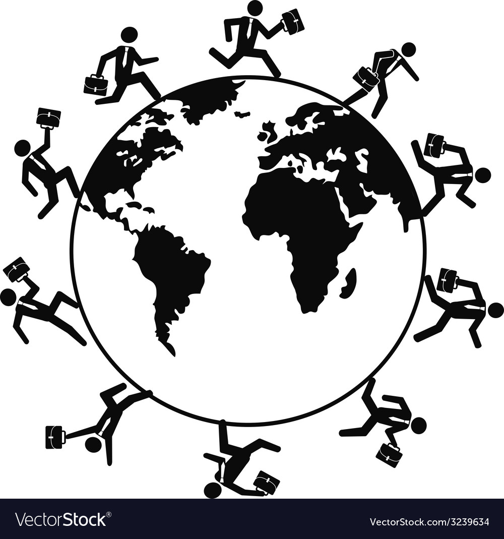 Business people running around the world vector | Price: 1 Credit (USD $1)