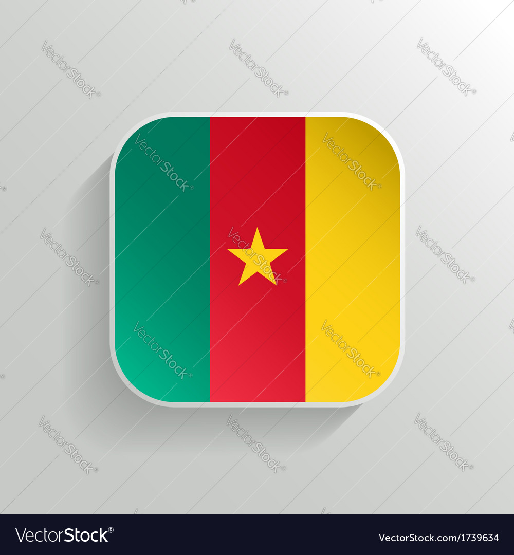 Button - cameroon flag icon vector | Price: 1 Credit (USD $1)