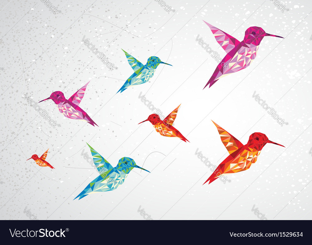 Colorful humming birds vector | Price: 1 Credit (USD $1)