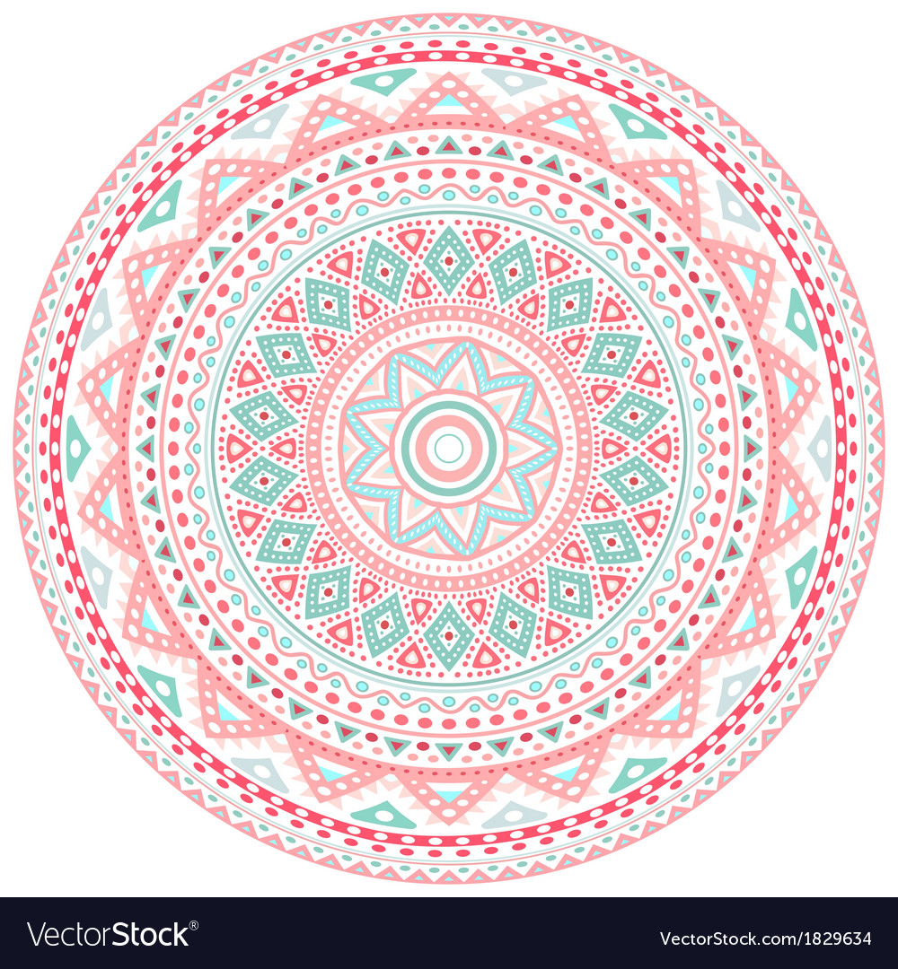 Decorative pink and blue round pattern frame vector | Price: 1 Credit (USD $1)