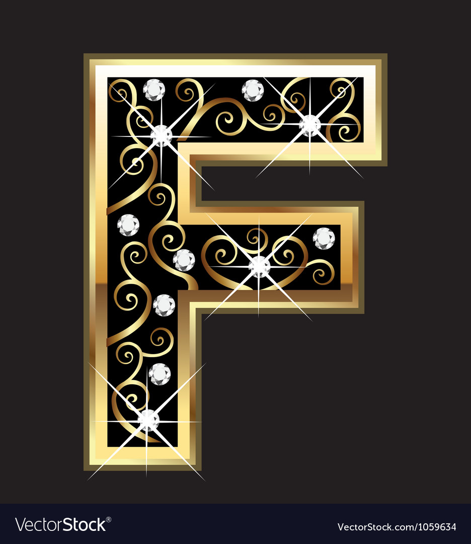 F gold letter with swirly ornaments vector | Price: 1 Credit (USD $1)