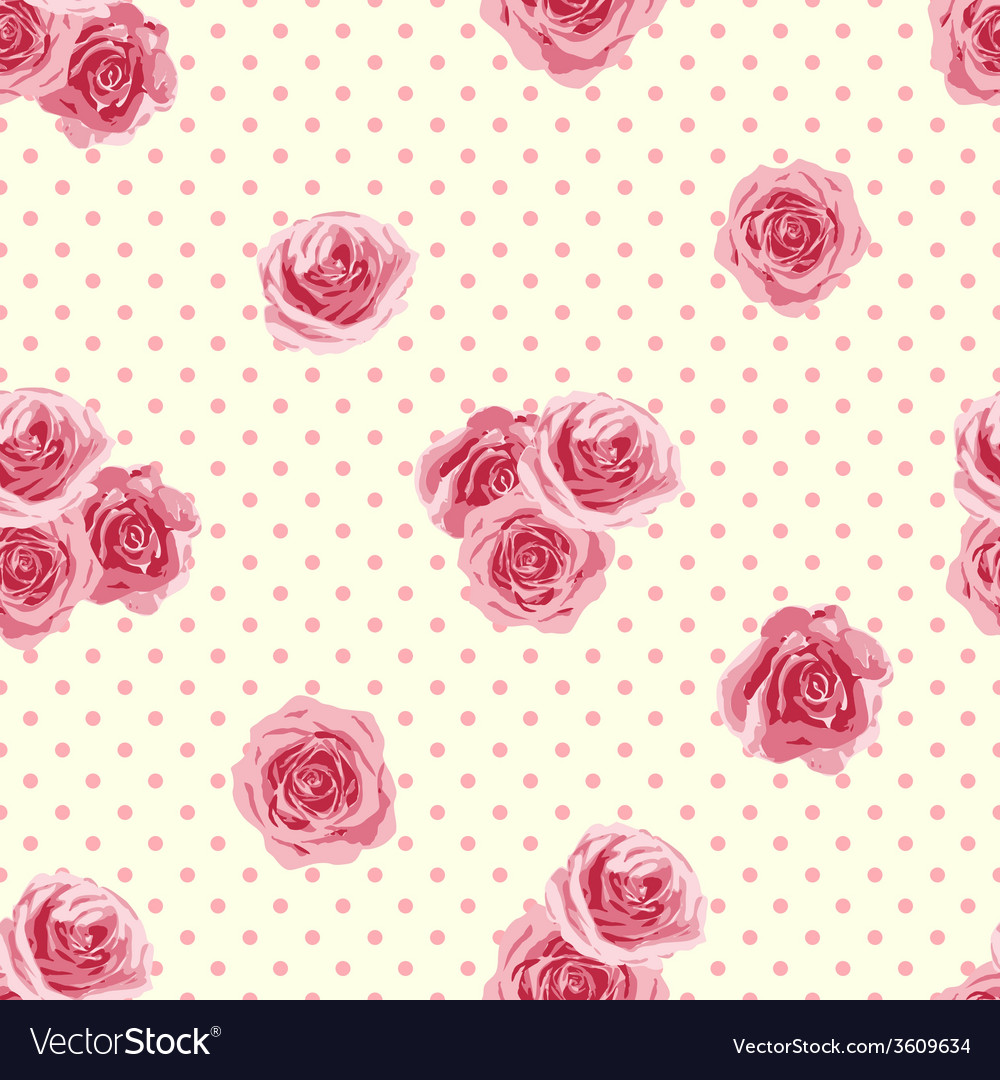 Flower seamless pattern with roses vector | Price: 1 Credit (USD $1)
