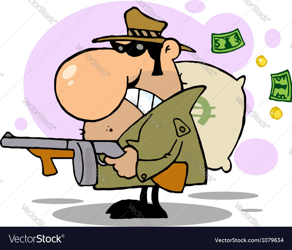 Gangster man with his gun and bag of money vector | Price: 1 Credit (USD $1)