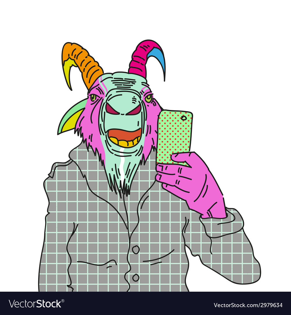 Goat making photo with smartphone vector | Price: 1 Credit (USD $1)