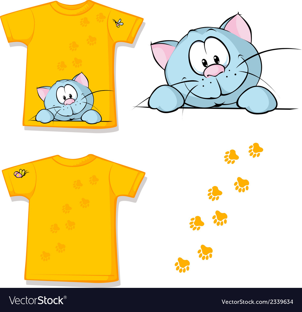 Kid shirt with cute cat peeking printed - isolated vector | Price: 1 Credit (USD $1)