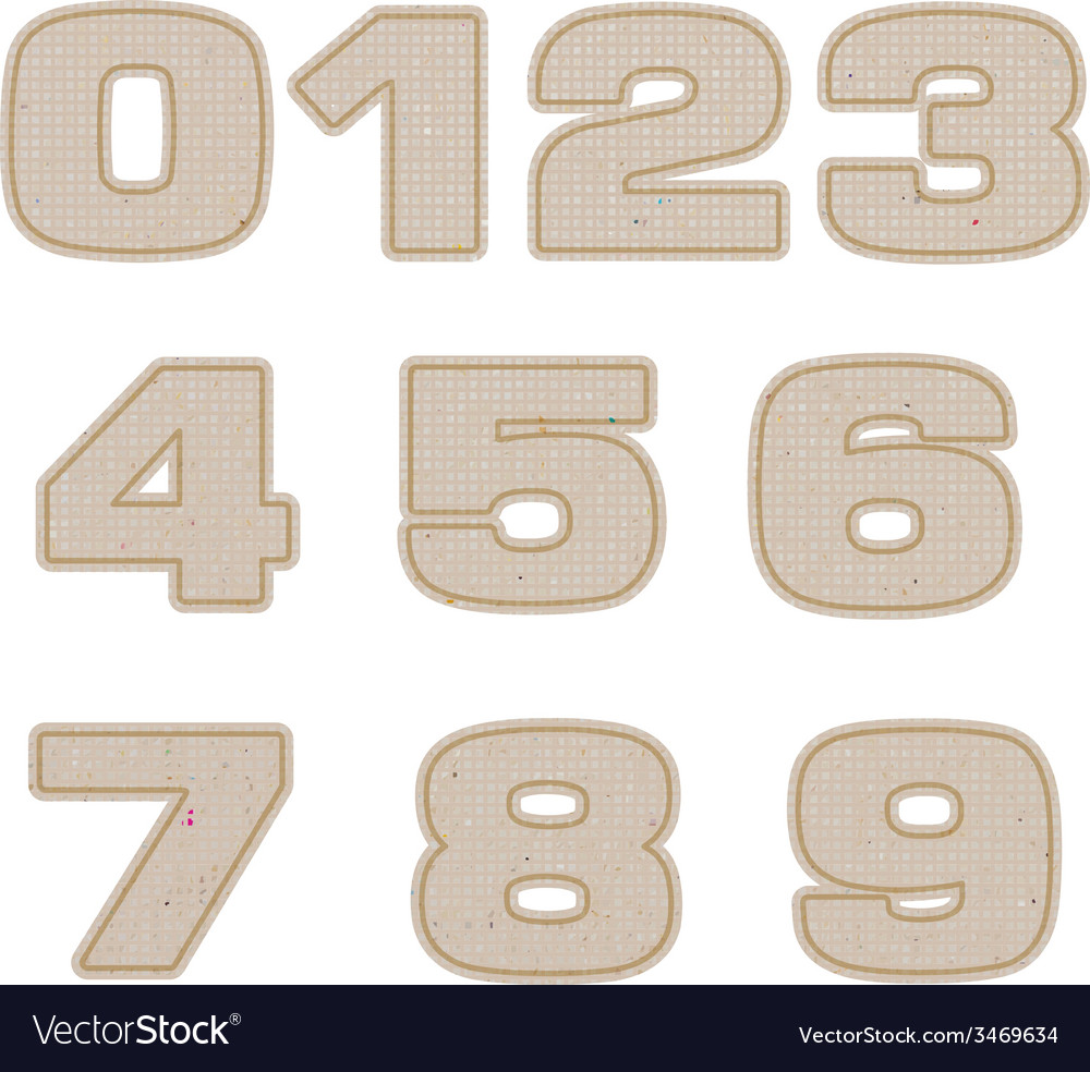 Number tag recycled paper craft stick on white vector | Price: 1 Credit (USD $1)