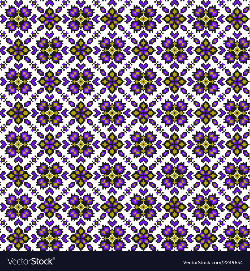 Seamless ethnic pattern with geometric flowers vector | Price: 1 Credit (USD $1)
