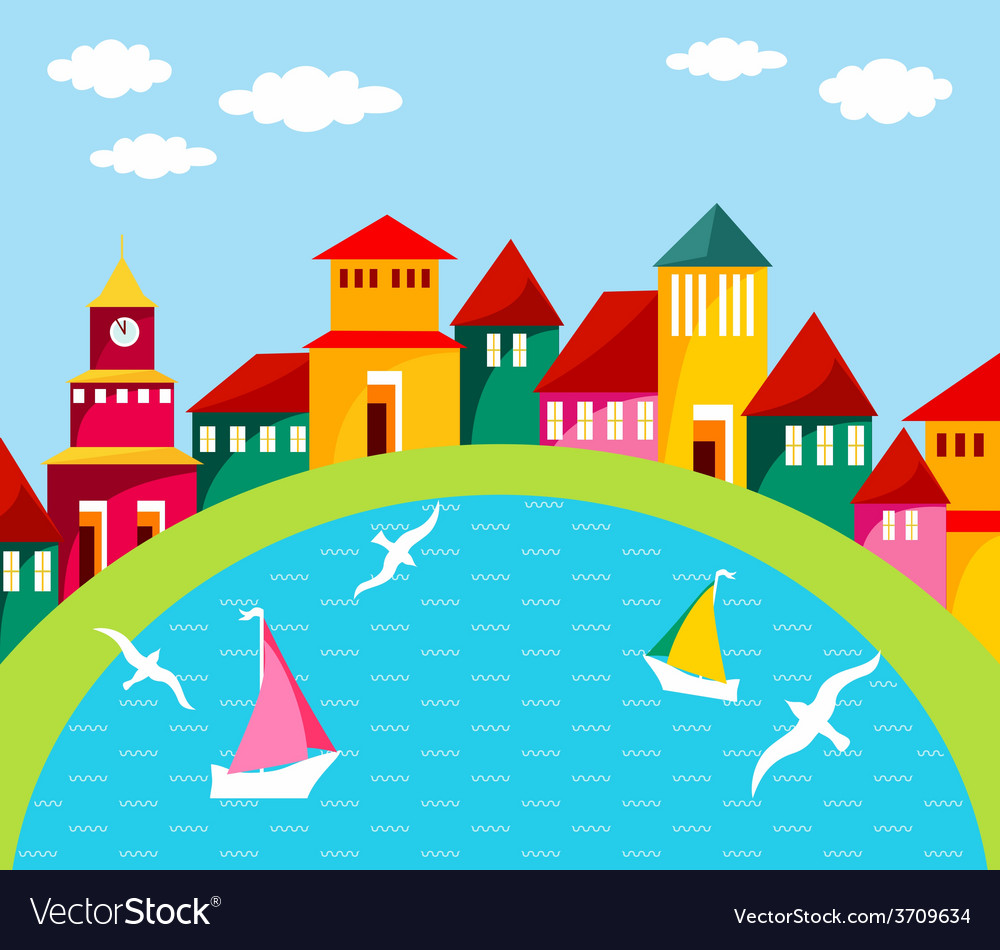 Seaside town vector | Price: 1 Credit (USD $1)