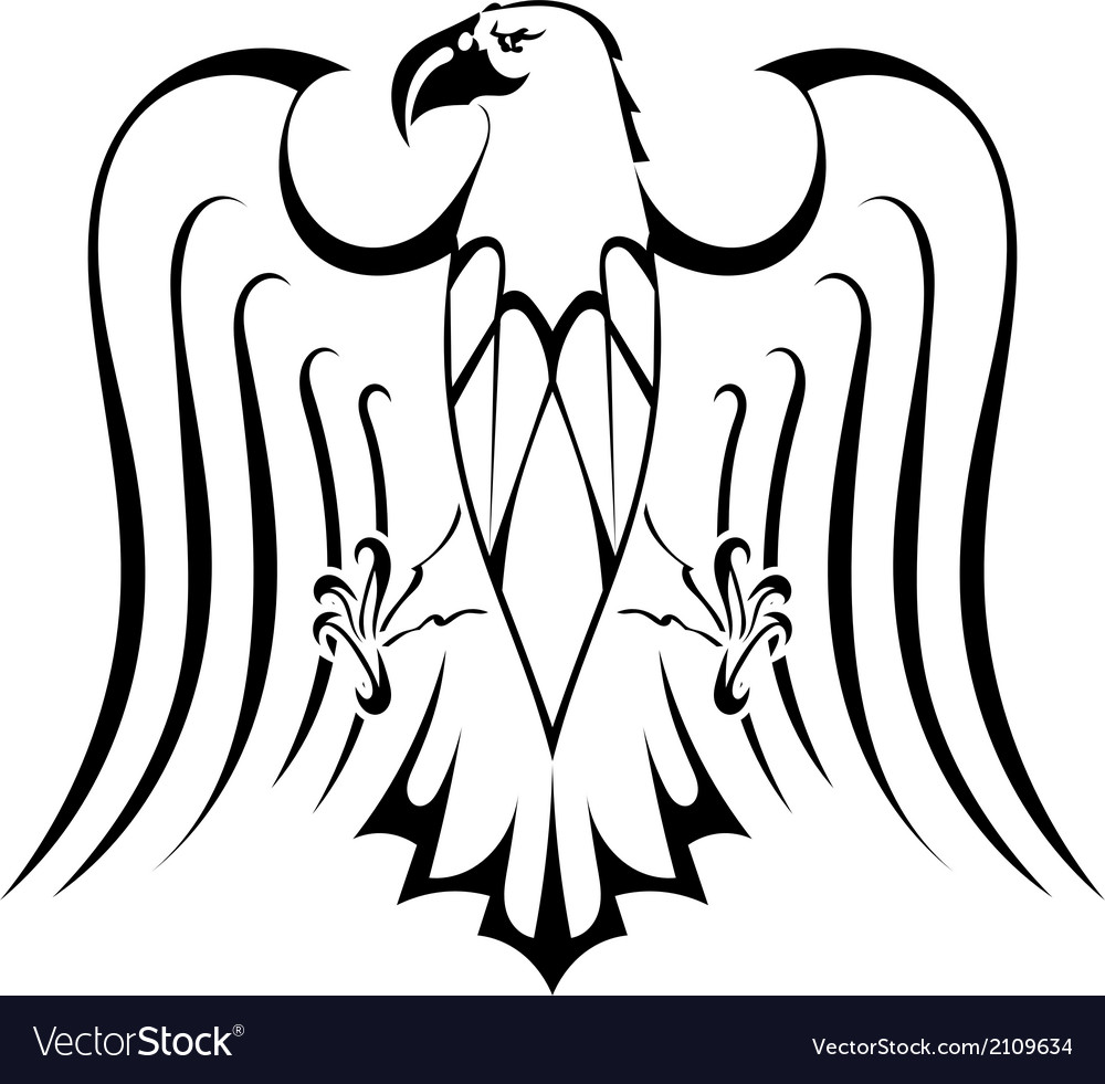 Silhouette of eagle tattoo vector | Price: 1 Credit (USD $1)
