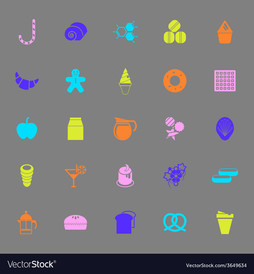 Sweet food color icons on gray background vector   Price: 1 Credit (USD $1)