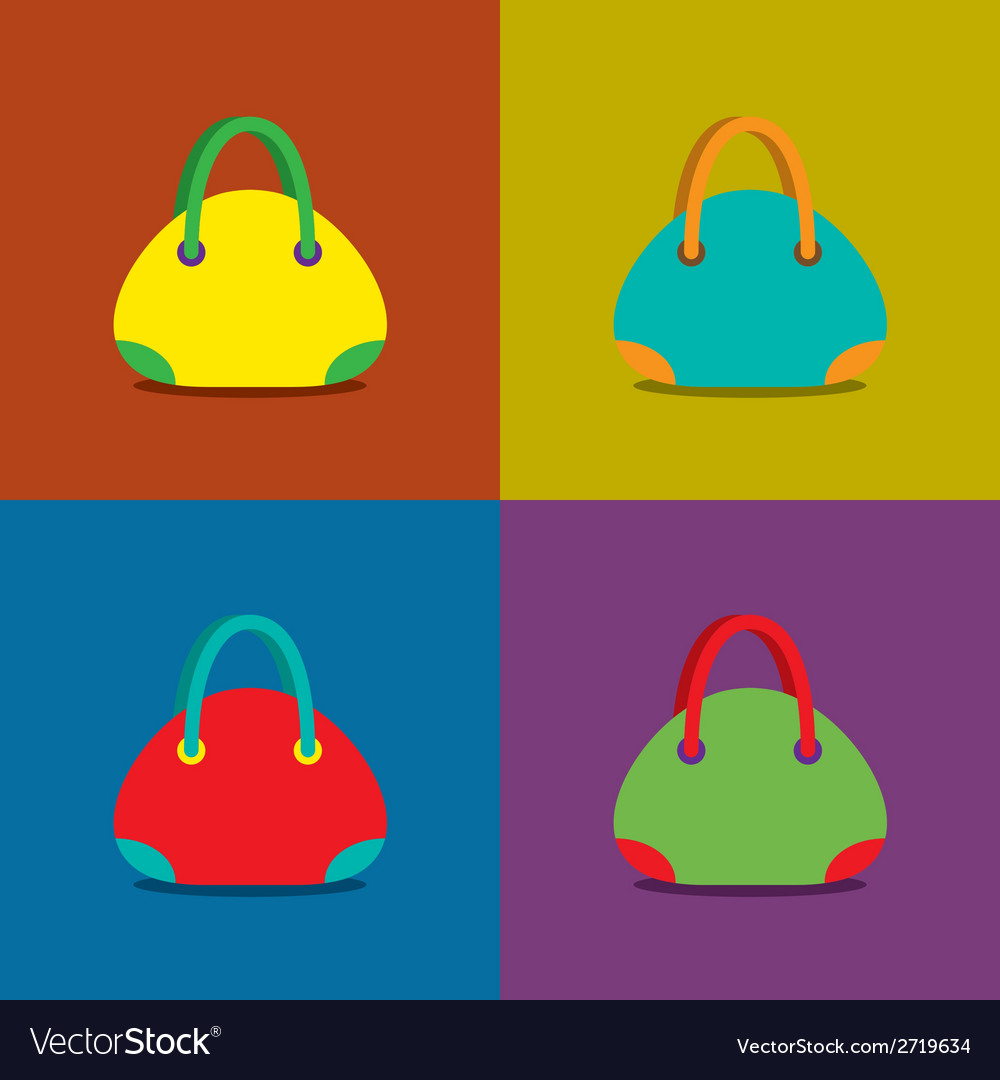 Women bags on colorful background vector | Price: 1 Credit (USD $1)