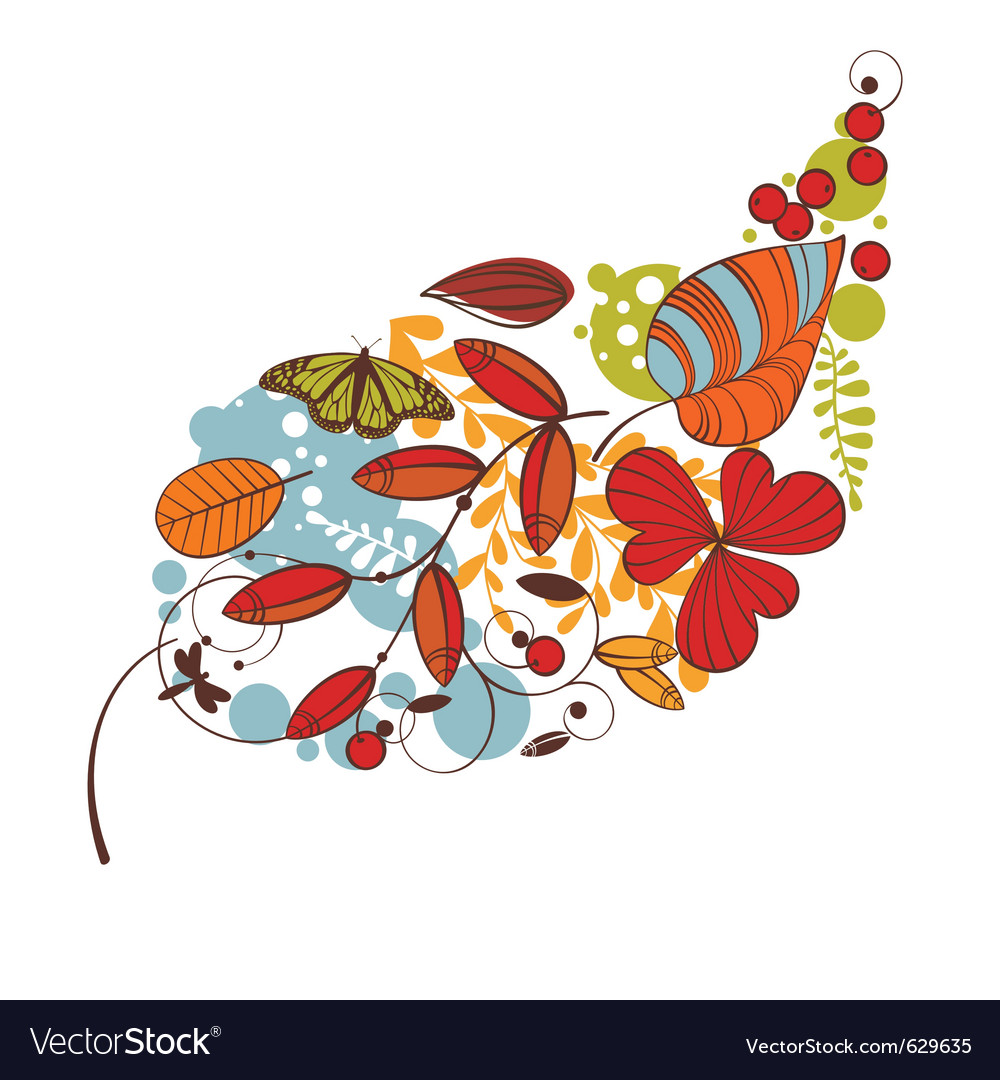 Abstract cute floral autumn card vector | Price: 1 Credit (USD $1)