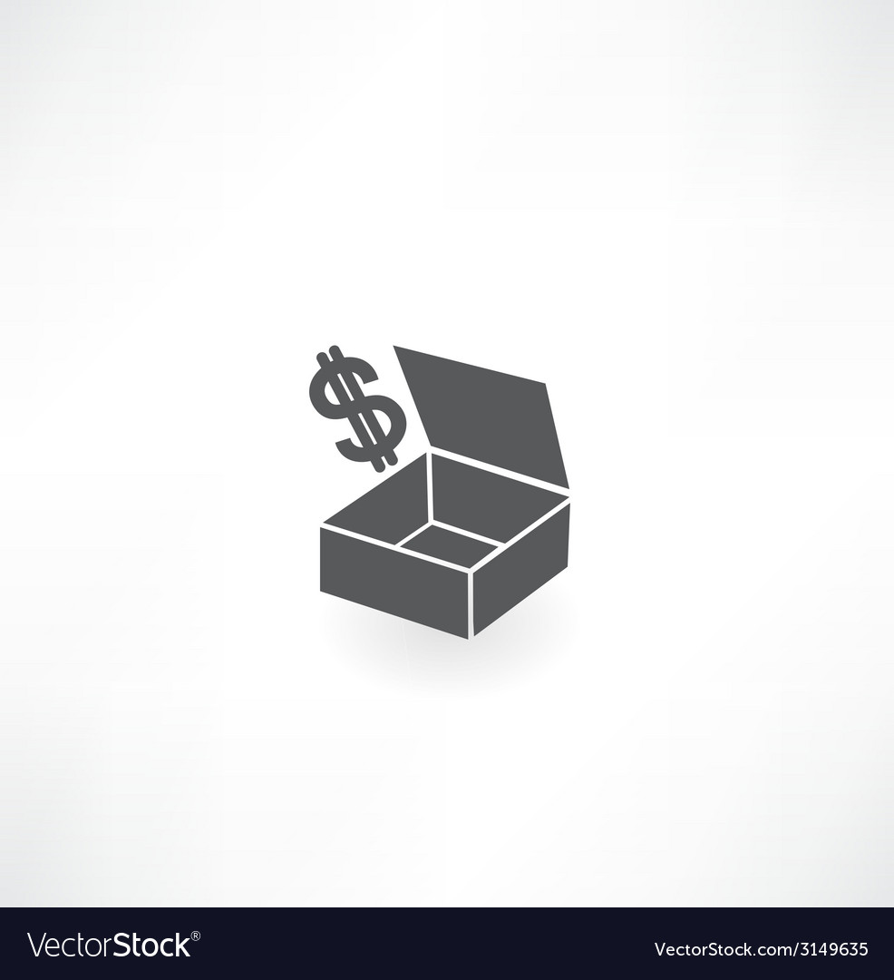 Box with dollar icon vector | Price: 1 Credit (USD $1)