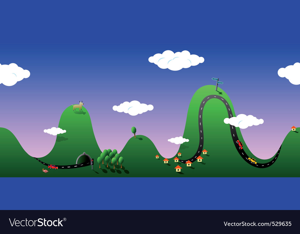 Cartoon hills vector | Price: 1 Credit (USD $1)