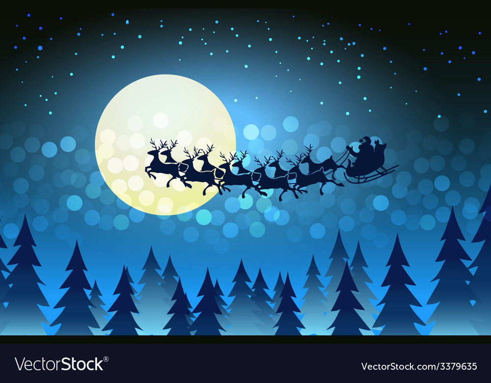 Christmas background with santa driving his sleigh vector | Price: 1 Credit (USD $1)