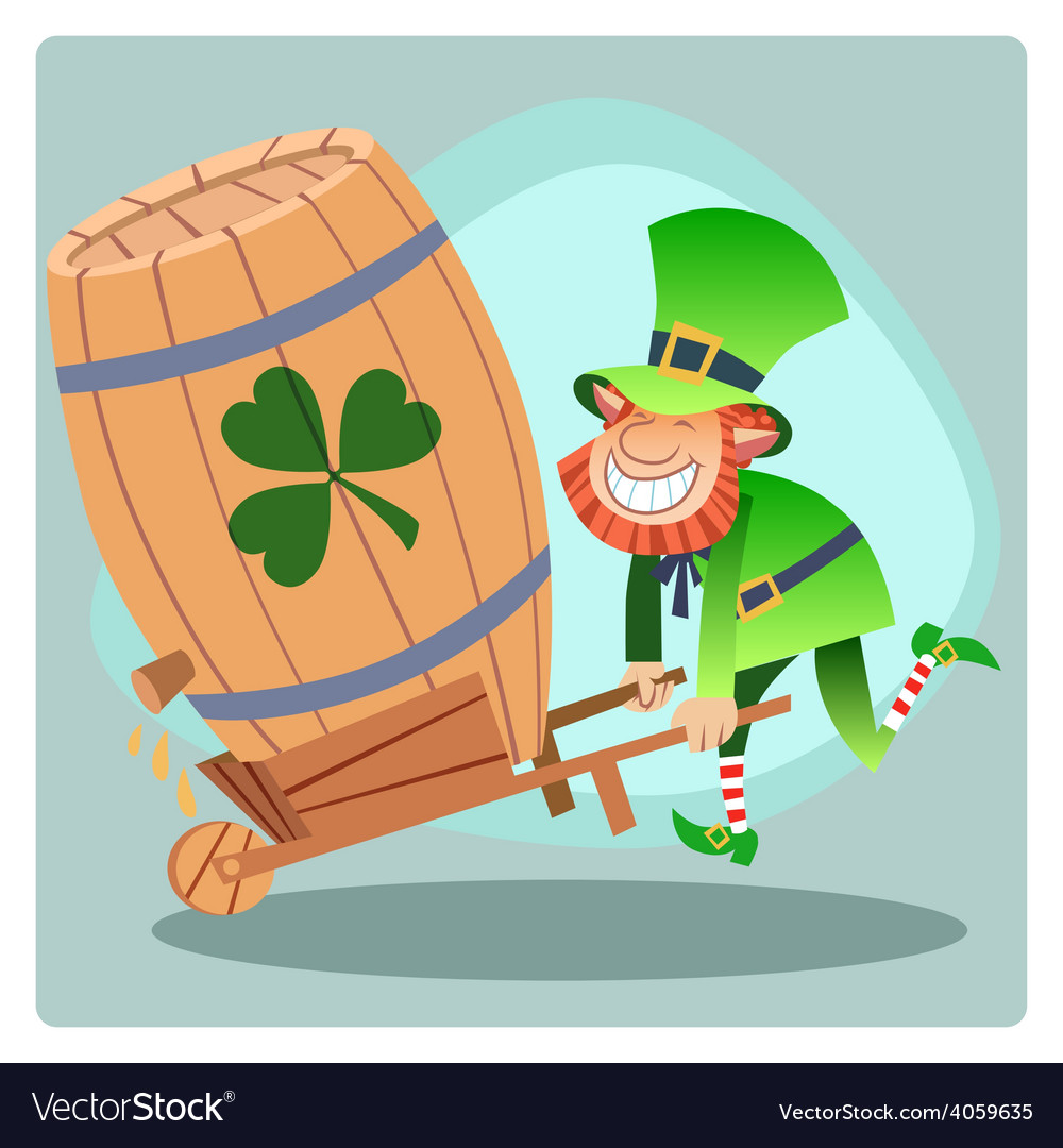 Day patrick green leprechaun lucky keg of beer vector | Price: 3 Credit (USD $3)