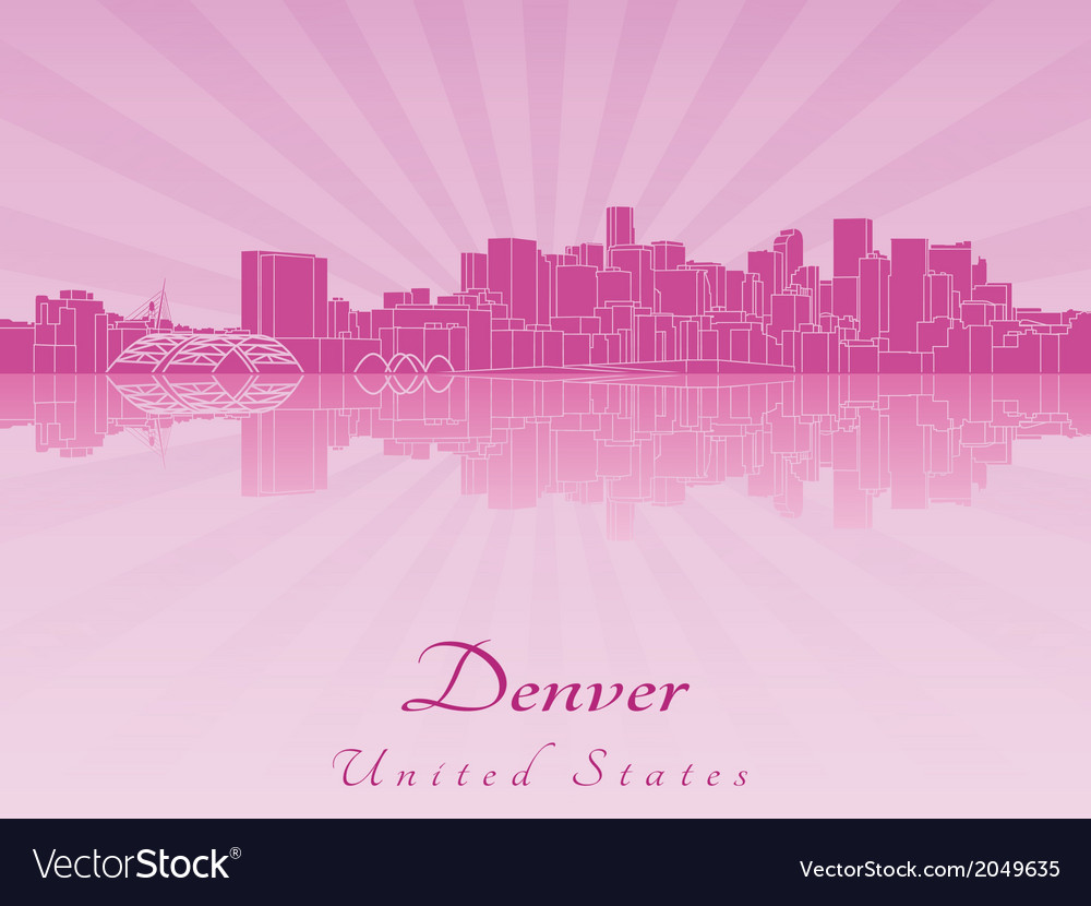 Denver skyline in purple radiant orchid vector | Price: 1 Credit (USD $1)