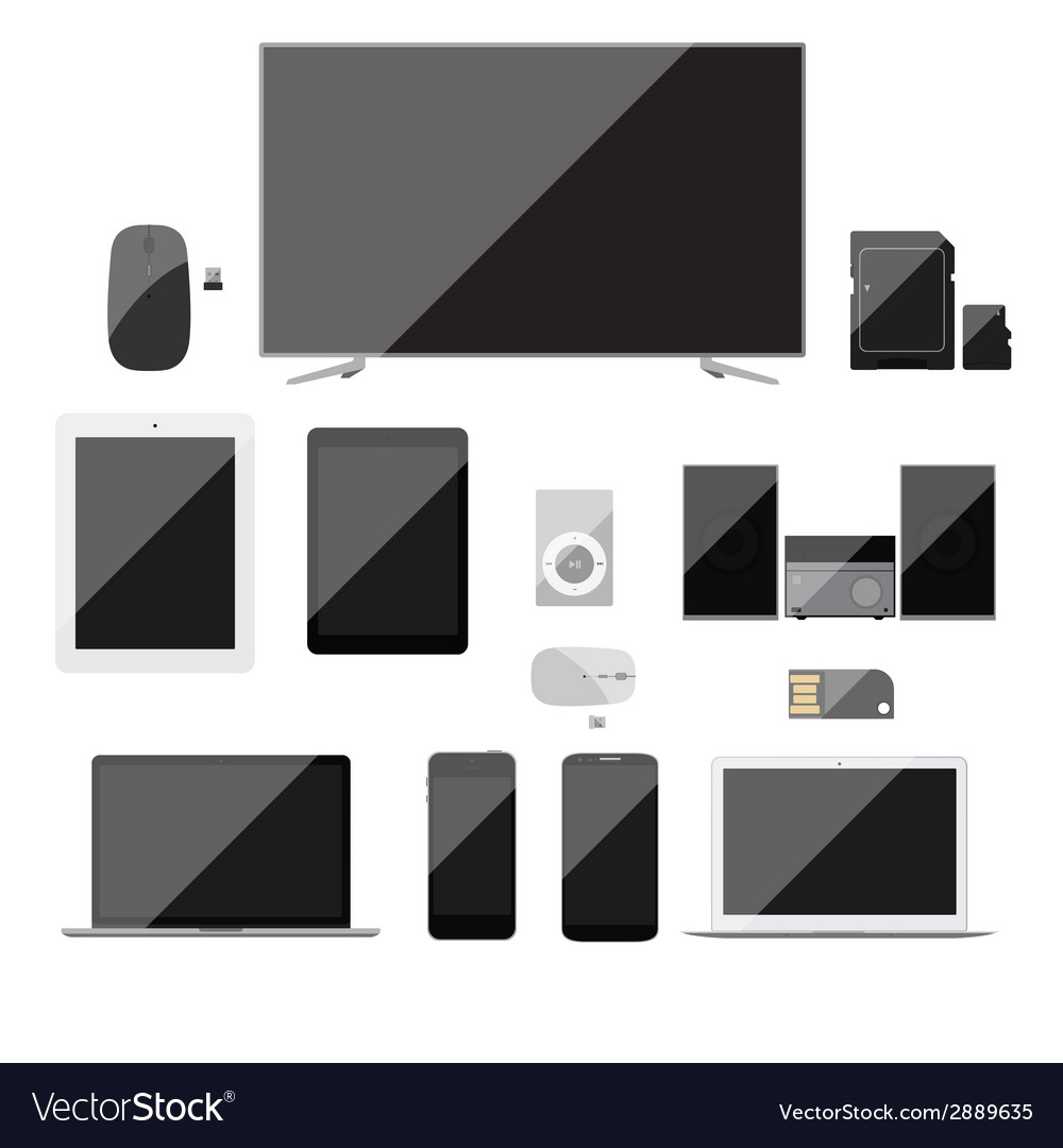 Electronic devices icons set vector | Price: 1 Credit (USD $1)